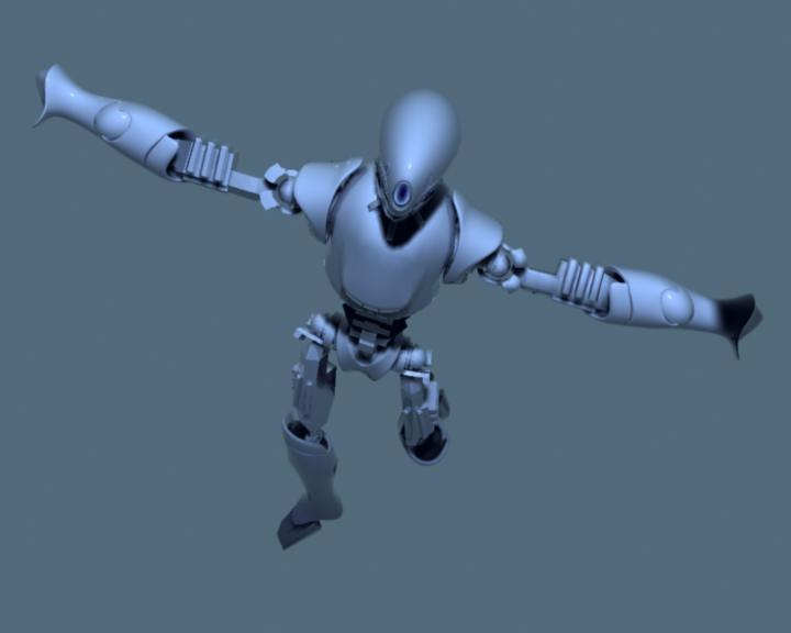 3d rigged robot character model