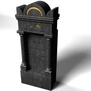 3d gravestone stone model