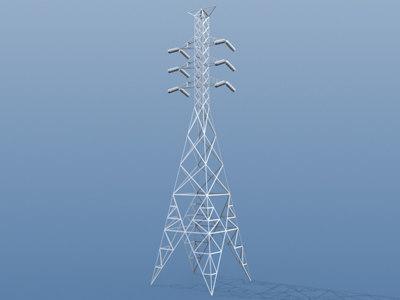 powerline tower 3d model
