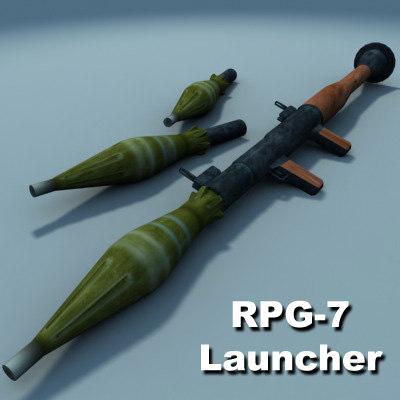 rpg-7 rocket launcher 3d model