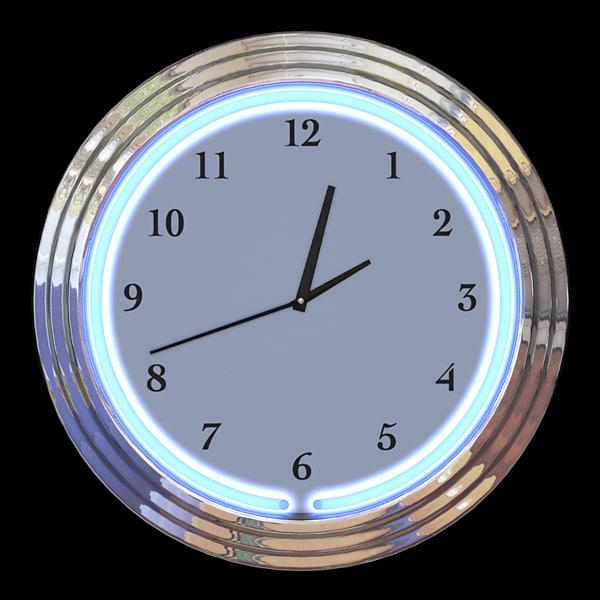 neon clock 3d model