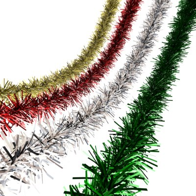 tinsel decorating christmas tree 3d model - Tinsel Christmas Decorations
