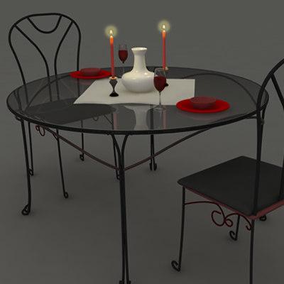 3d dinner table setup romantic