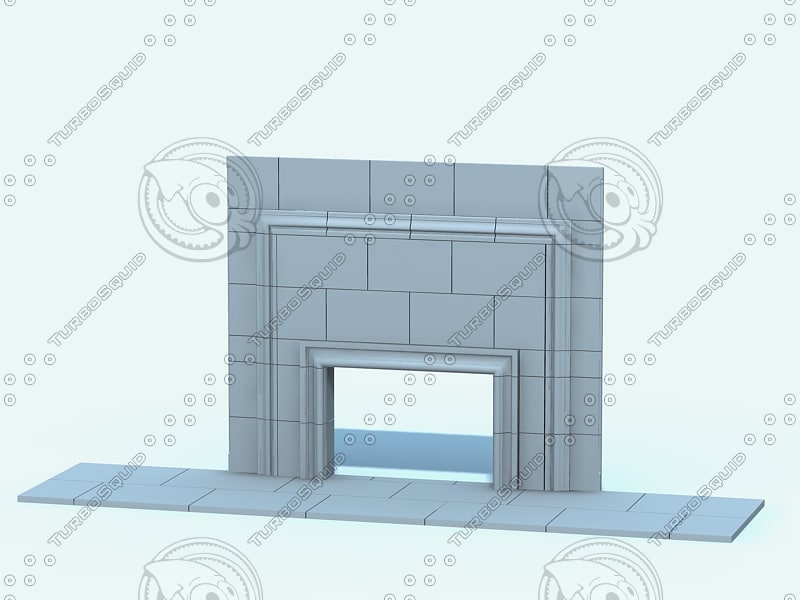 limestone fireplace 3d 3ds