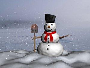 snowman snowing 3d max