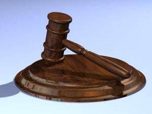 gavel judge hammer 3d model