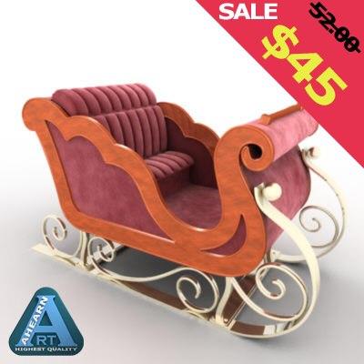 sleigh santa clause 3d model
