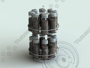 3dsmax spice rack bottles