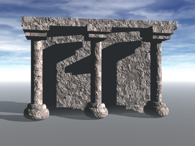 3ds stone pillars building