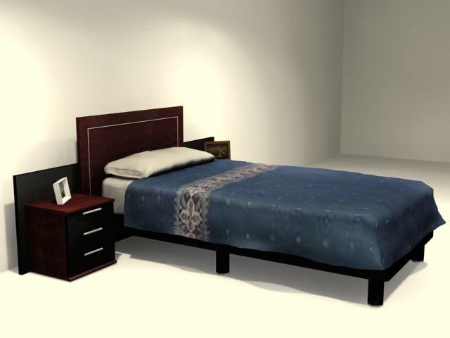 single bedroom bedside 3d model