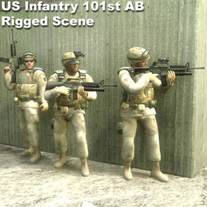 3ds infantry rigged character
