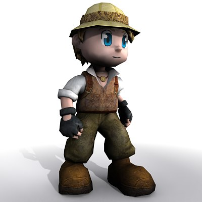 cute explorer boy character 3d model