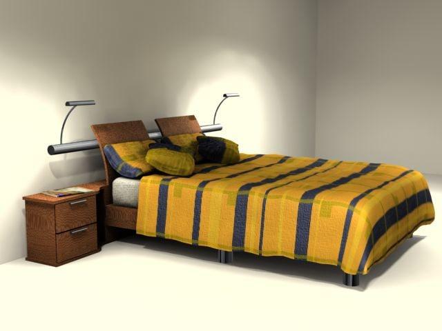 queen bed 3d max