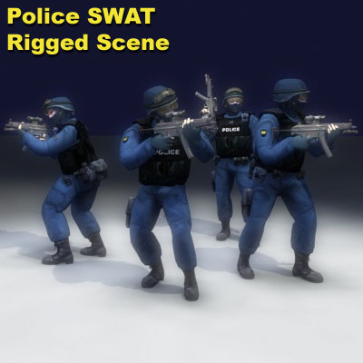 3d swat police rigged model