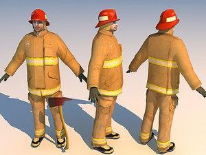 fireman 02 character 3d max