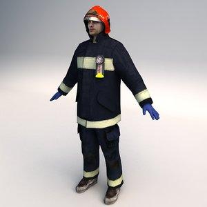 fireman character 3d max