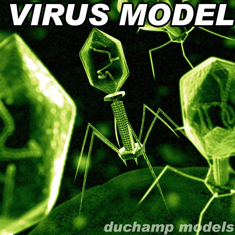 bacteriophage virus 3d model