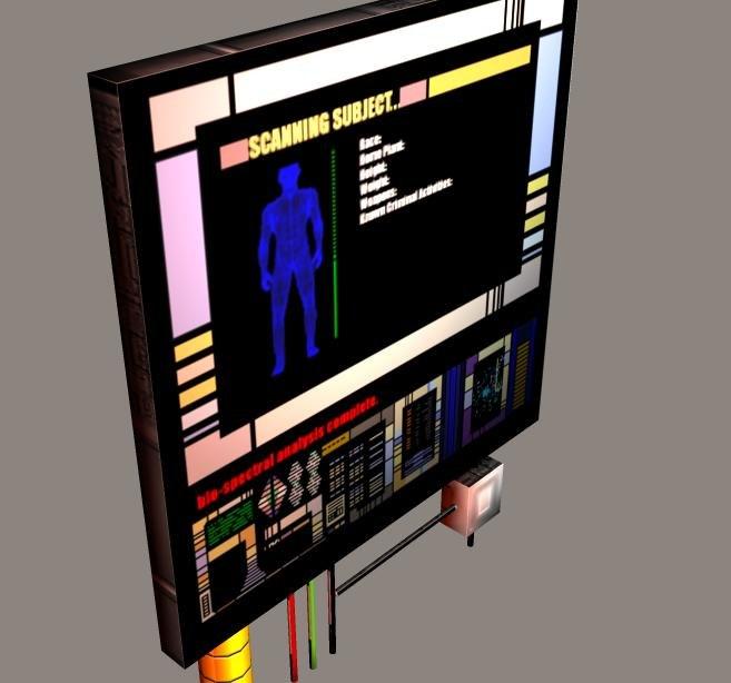 sci-fi screen 3d obj