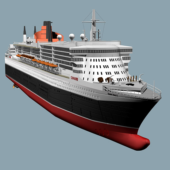 queen mary 2 ships 3d model