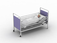 hospital bed young boy 3d model