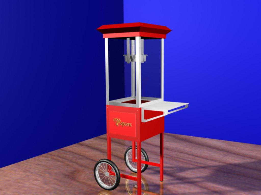 old fashioned popcorn cart 3d model
