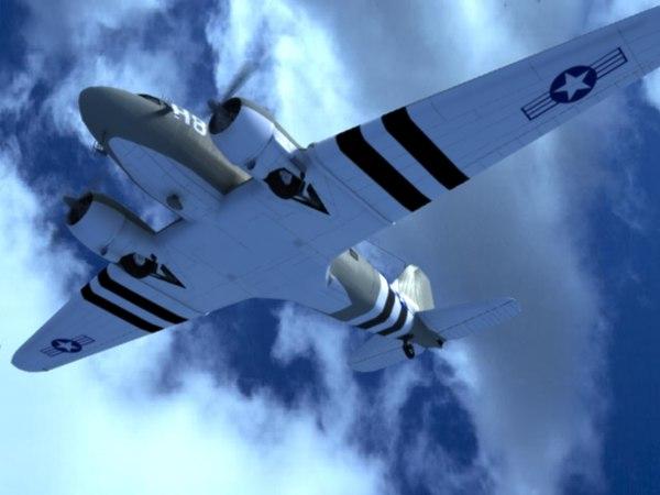 aircraft c-47 transport 3d model