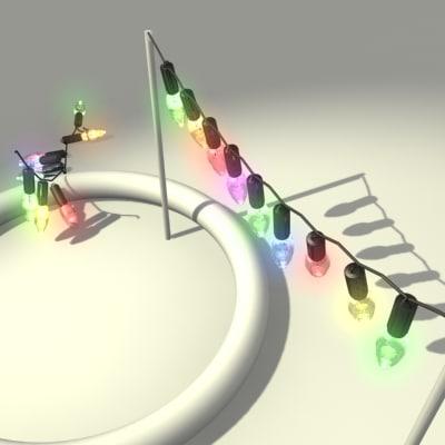 christmas lights multi-coloured animation 3d model