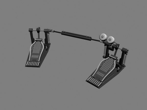 drum set dual pedal 3d model