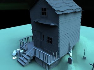 3d scary house model