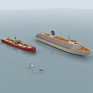cargo motorboat cruise 3d max