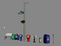 parking meter signs hydrant 3d max