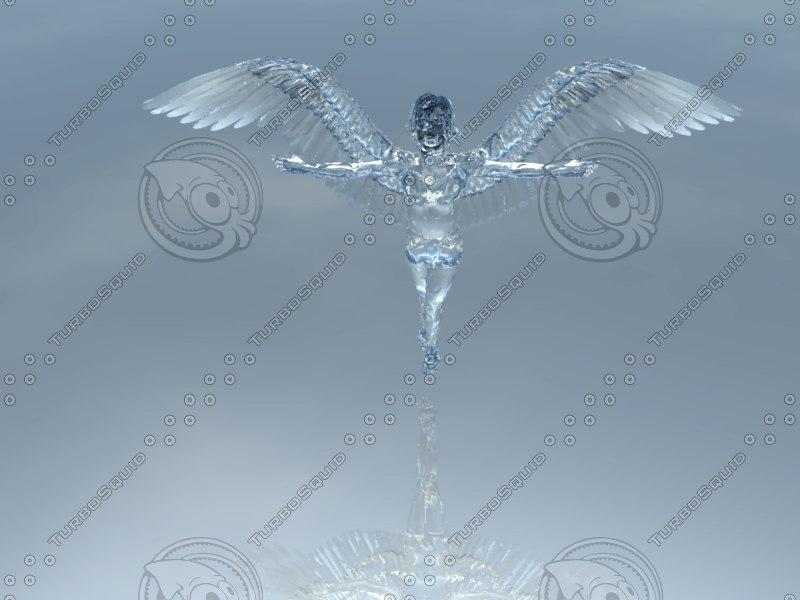 crystal angel 3d obj