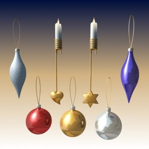 christmas tree ornaments balls 3d max