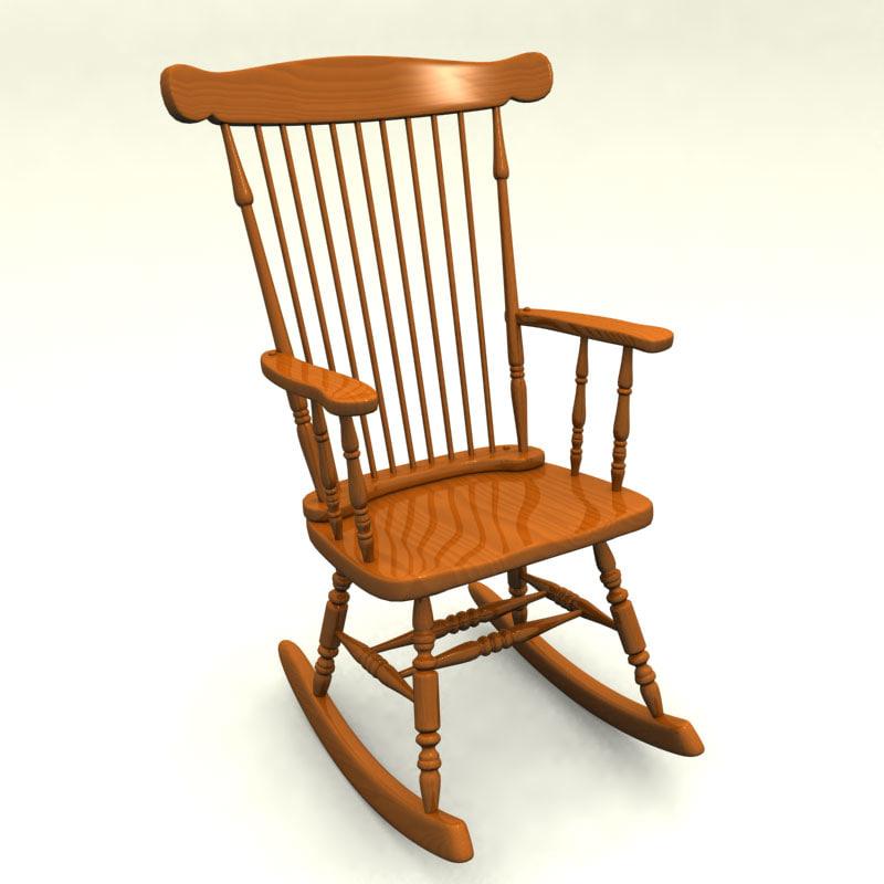 classic rocking chair wood 3d model