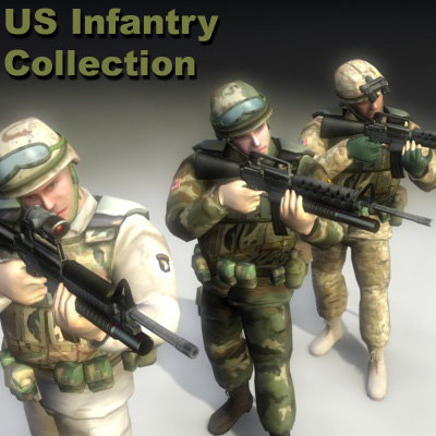 3ds games military rigged character