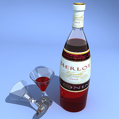 3d wine bottle glass model