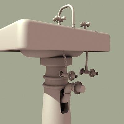 3d model 1920 pedestal sink