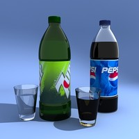3d model pepsi 7up bottle glass