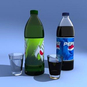 3d model pepsi 7up bottle glass