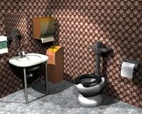 public toilet 3d lw
