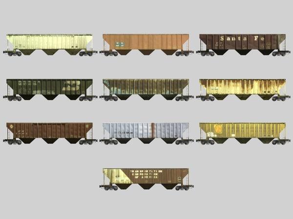 3d model railroad hopper car train