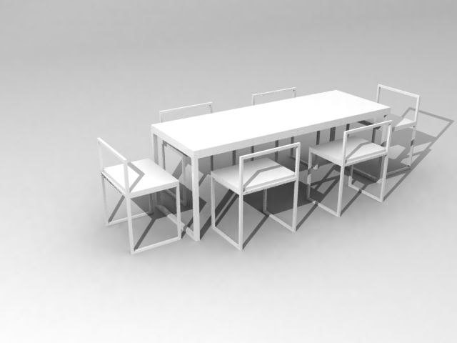 3d model chair table