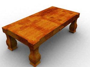 3d model massive wooden table wood