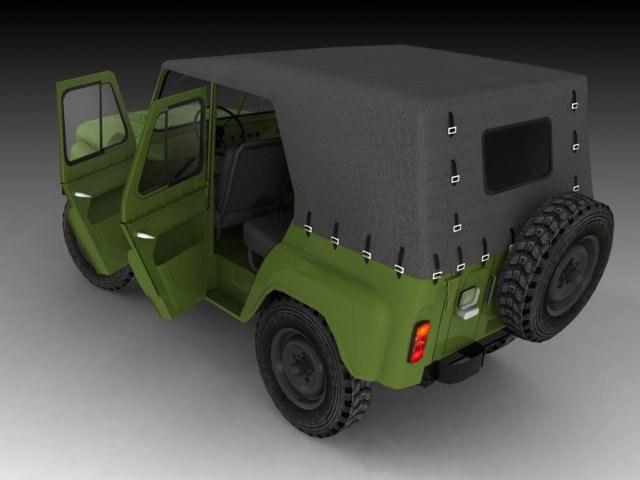 3d mid-poly uaz model