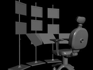 tv chair 3d 3ds