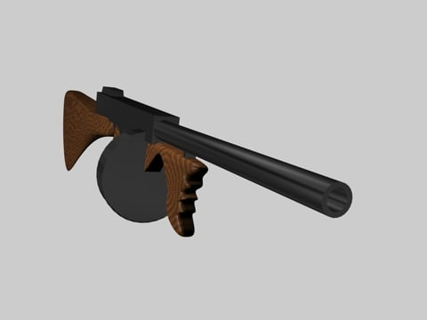 3d tommy machine gun model