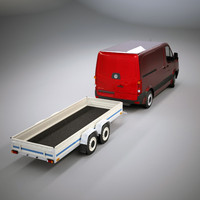 3d small 4 wheel trailer model
