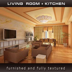 living room candy kitchen 3d model