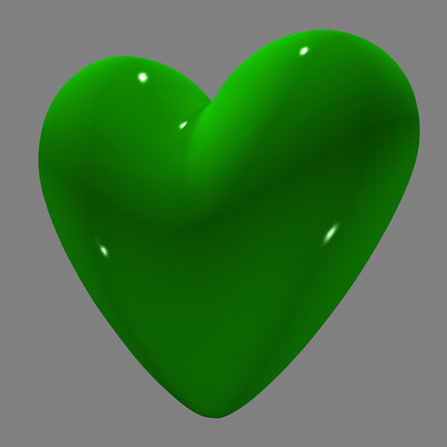 3d model green love heart