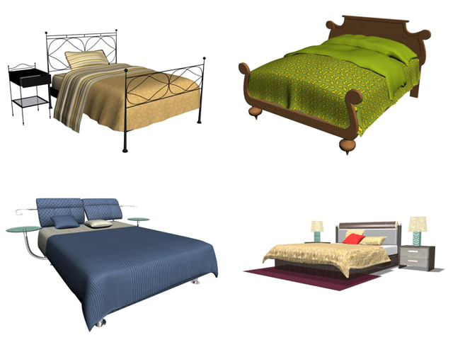 3d model bedroom furniture beds zipped